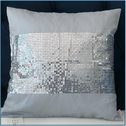 Silk Sequin Silver Cushion Cover