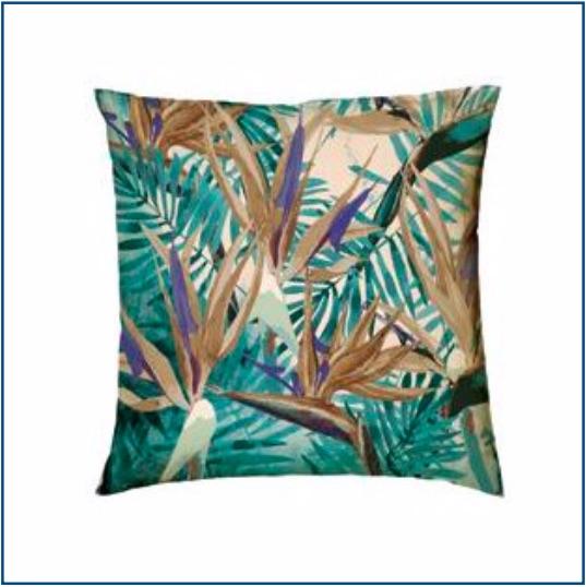 Green tropical leaf cushion cover